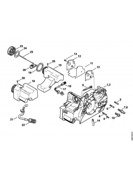 Деталировка бензопилы MS 180 Картер двигателя
