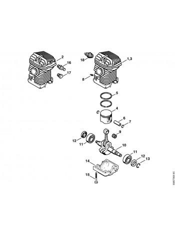 Схема бензопилы MS 250 Приводной механизм