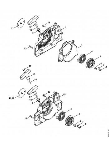 Деталировка бензопилы MS 180 Пусковое устройство