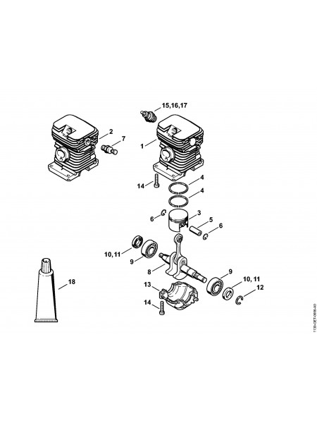 Деталировка бензопилы MS 180 Цилиндр